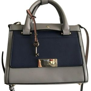 DUNE Small Grey/Navy/Pink Leather Crossbody Handle